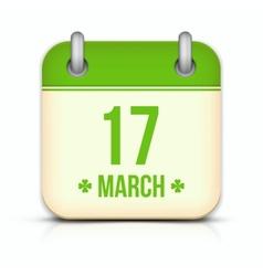 Saint Patricks day calendar icon with reflection vector image