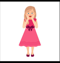 scared girl in pink dress vector image