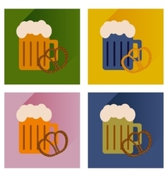 Set flat icons glass beer and snack vector