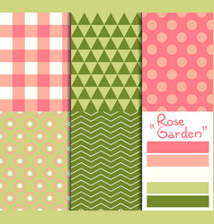 set of 5 simple seamless geometric patterns rose vector image