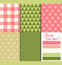 set of 5 simple seamless geometric patterns rose vector image