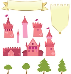 Set of Castle Design Elements vector image