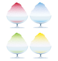 set of four shaved ice isolated on a white bkg vector image