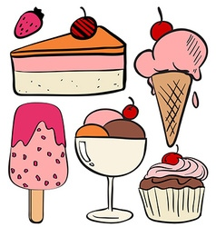 Set of ice cream and cakes vector image