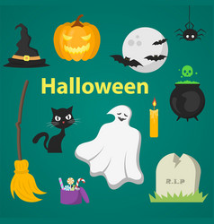 set of objects for halloween vector image
