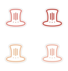 Set of stickers hat Lincoln on white background vector