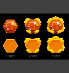 set step step improvement gem icon vector image