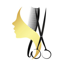 silhouettes of girls and scissors with a comb vector image
