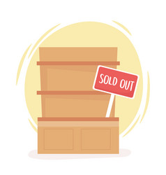 Sold out shelf food hoarding excess purchase vector