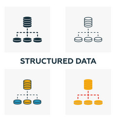 structured data icon set four elements in vector image