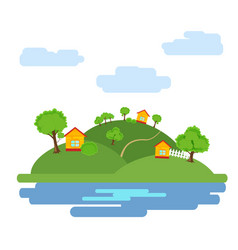 summer background with the image of the houses vector image