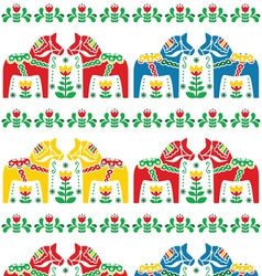 Swedish Dala or Daleclarian horse seamless pattern vector image