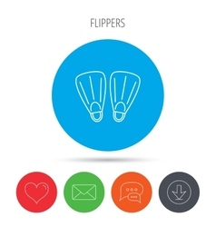 Swimming flippers icon Diving sign vector image