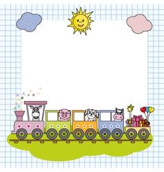 Train with farm animals vector image