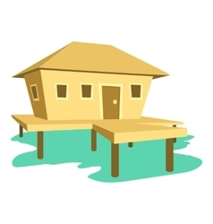 Tropical house icon cartoon style vector