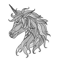Unicorn entangle coloring book vector
