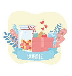 volunteering help charity donate box with food vector image