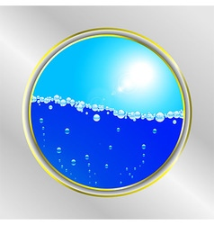 Water bubble and sunny sky border vector