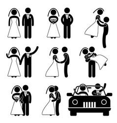 wedding bride bridegroom married marry marriage vector image