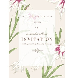 Wedding invitation template with flowers vector