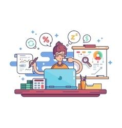 Woman financial accountant vector