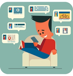 Young man online chatting vector image