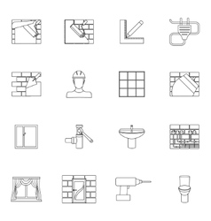 Home repair icons outline vector image vector image