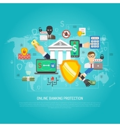 Online internet banking protection concept poster vector image vector image