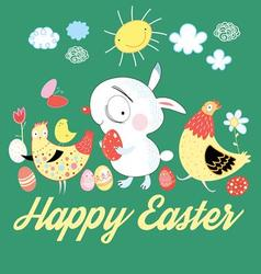 Greeting card with a cheerful Easter bunny vector image vector image