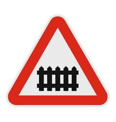 railroad crossing with a barrier icon flat style vector image vector image
