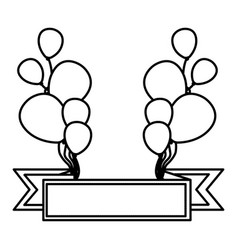 Silhouette bolloons decorations party with red vector