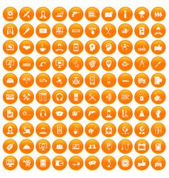 100 support icons set orange vector