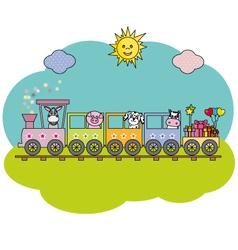 Children train with farm animals vector image
