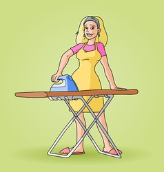 housewife ironing clip art vector image vector image