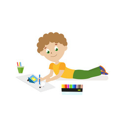 boy lying on the floor drawing a picture with vector image