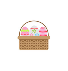 easter eggs in basket flat icon religion holiday vector image vector image