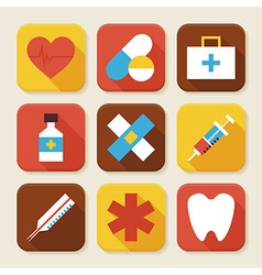 Flat Health and Medicine Squared App Icons Set vector image