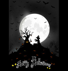 halloween background on the full moon vector image vector image