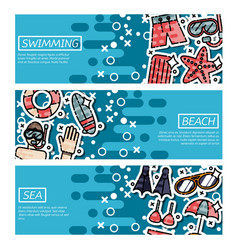 set of horizontal banners about swimming vector image vector image