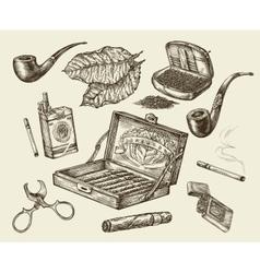 Tobacco collection smoking Hand-drawn vector image