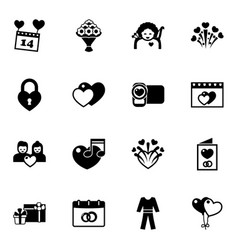 16 day filled icons set isolated on white vector image