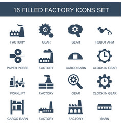 16 factory icons vector