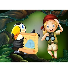 A girl with telescope and bird with map vector