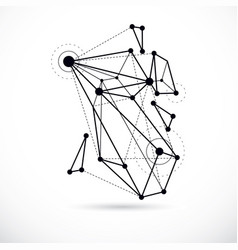 abstract geometric 3d wireframe object digital vector image