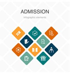 Admission infographic 10 option color design vector