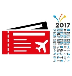 Airtickets Icon with 2017 Year Bonus Symbols vector image