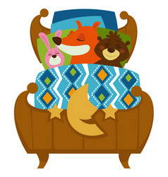 animals sleeping in bed fox and rabbit with bear vector image