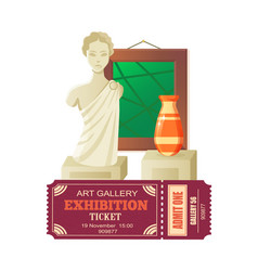 Art gallery exhibition sculpture and vases vector