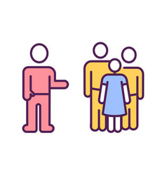 Avoiding infected people rgb color icon vector