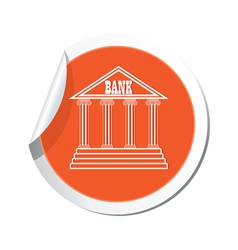 Bank icon orange label vector